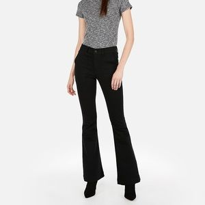 HIGH WAISTED BLACK BELL FLARE JEANS